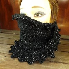 Click Crochet Scarf Crochet Infinity Scarf Crochet Cowl Scarf Crochet Circle Scarf Black Sparkle Black Scarf LAUREN WInter Scarf by strawberrycouture Crochet Scarves, Knit Crochet, Craft Patterns, Crochet Patterns, Crochet Pillow Cases, Yarn For Sale, Crochet Circles, Black Sparkle, Cowl Scarf