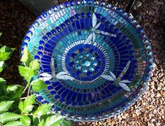 Mosaic birdbath... or just on the outside of garden containers!