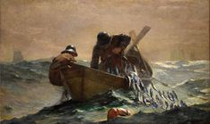 Reproduction Painting Winslow Homer The Herring Net, Hand-Painted Reproductions Art Oil On Canvas Winslow Homer Paintings, Seascape Paintings, Ship Paintings, Painting Art, Art Institute Of Chicago, Sculpture, Fish Art, Art Reproductions, Art Oil