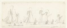 Willem van de Velde (I)   De tocht van de Engelse koning Karel II over de Thames naar Sheerness en Chatham op 27 Augustus 1681, Willem van de Velde (I), 1681   De tocht van de Engelse koning Karel II over de Thames naar Sheerness en Chatham op 27 augustus 1681. Hier de vloot van jachten achterelkaar tussen Woolwich en Blackwall.