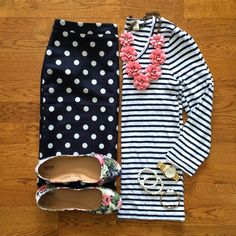 Mixing polka dots & stripes.  White Coat Wardrobe: The Weekly Wardrobe: April 12