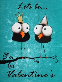 ACEO Print VALENTINE'S DAY ART whimsical bird crows lets be Valentines #ACEOATCIllustrationArt