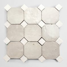 """drawing upon the rich mosaic patterns of morocco, this collection, in collaboration with designer anthony d'argenzio of zio & sons, offers two simple terracotta shapes that fit together - a 4"""" octagon and 1"""" bouchon. in four neutral shades: weathered white, sea salt (our newest bright white zellige color), charred cedar and natural. with these two shapes and four colors, there are countless combinations and ways to create a truly custom look. #cletile #backsplash #floor #wall #kitchen… Floor Design, Tile Design, Design Web, Graphic Design, Industrial Office, Modern Industrial, Vintage Industrial, Industrial Design, Tile Stores"""
