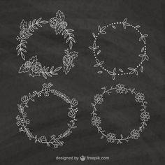 Sketches couronnes de fleurs paquet en tableau