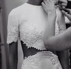 white dress, beading, details, crop top