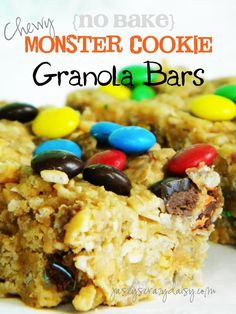 Looking for a super easy {no bake} treat to beat the heat with? Try these Monster Cookie Granola Bars that you make in the microwave! Jasey's Crazy Daisy: No Bake Monster Cookie Granola Bars {Super Easy Microwave Recipe}