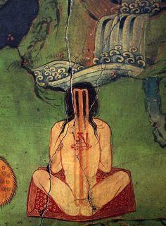 Fresco of tummo instruction from the Secret Temple of the Dalai Lamas, Lhasa, Tibet. Tibetan Art, Tibetan Buddhism, Buddhist Art, Buddhist Meditation, Tantra Art, Buddha, Vajrayana Buddhism, Esoteric Art, Kundalini Yoga
