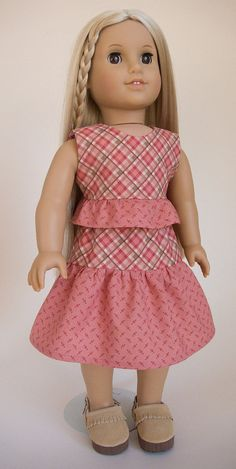 "18 Inch Doll Clothes American Girl Clothes Pink Plaid Ruffle Skirt and Shirt Outfit for 18"" Dolls"