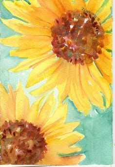 Sunflowers on turquoise Original  watercolor by SharonFosterArt, $20.00