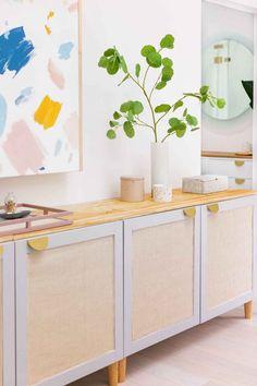 Cane Furniture, Ikea Furniture, Furniture Projects, Diy Interior, Office Interior Design, Apartment Interior, Contemporary Interior, Ikea Tv Stand, Diy Tv Stand