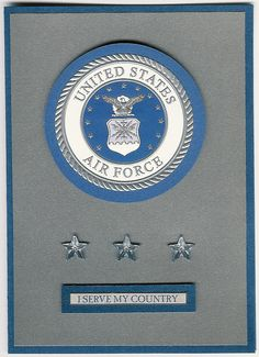 United States Air Force Insignia blank card. 25% of proceeds from cards sold goes to the Wounded Warrior Project and the Special Operations Warrior Foundation.