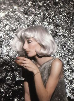 A shimmering Anjelica Huston at studio 54.