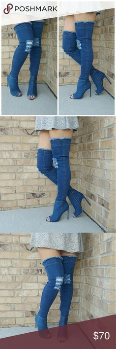Stunning Denim Peep Toe Thigh High Boots SEXY HOT NEW ARRIVALS! Brand New With Box These thigh high peep toe boots are sure to be any shoe lovers guilty pleasure. Wherever you end up wearing these is bound to make everyone else feel guilty for not finding them first!  SIZES IN STOCK: 6, 6.5, 7, 7.5, 8, 8.5, 9, 10   Material: Denim  Heel Height: 5 Inches  Shaft Height: 25 Inches  U.S. Sizes  Side Zipper   #ShoesAreLife #ShopAholic #ChicFetish #ShoeFetish Shoes Over the Knee Boots