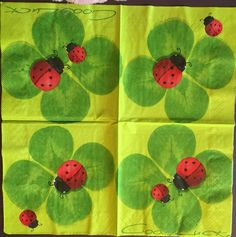 Decoupage Napkins, 4+1 FREE Single  Paper Napkins,LADY BUG , 13 inches (33cm) for Decoupage, Paper-Craft and Collage by kroshkame on Etsy