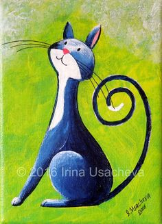 This is the original acrylic painting of a Deep-Blue Fantasy Cat™. I am a great lover and admirer of cats and I paint them in an imaginative,
