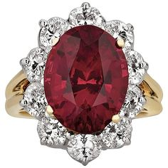Oscar Heyman 7.50 Carat Untreated Ruby Diamond Gold Platinum Ring   From a unique collection of vintage cocktail rings at https://www.1stdibs.com/jewelry/rings/cocktail-rings/