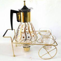 Vintage PYREX EAMES MID CENTURY ATOMIC COFFEE WARMER CARAFE CART CREAMER & SUGAR