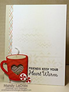 Card cup coffee tea cocoa MFT hot cocoa cups Die-namics LLD Hot Cocoa Cups MFT Hug in a Mug Scrapbook Paper Crafts, Scrapbook Cards, Scrapbooking, Christmas Cards To Make, Holiday Cards, Coffee Cards, Freebies, Cricut Cards, Shaker Cards