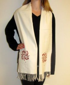 Buy this unique ivory cream women's hand crafting #winter #cashmere #scarf. Great #holiday #gift and also it is unique for any #occasion or event. #Warm #soft and elegant this women's winter cashmere scarf is on #sale price at #YoursElegantly.  Price: $44.99