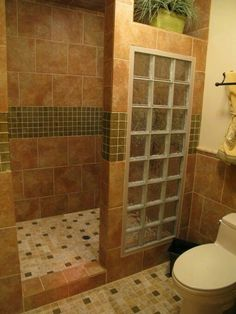 walk in shower with glass block wall shower ideas bathroombathroom - Bathroom Designs Using Glass Blocks