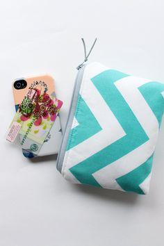 Cosmetic Bag, Zipper Clutch in Aqua Chevron. $30.00, via Etsy.