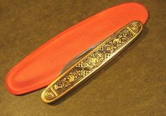 Coles NY Germany Toledo Embossed Enamel Black Gold Deco Vintage Pocket Pen Knife #Coles