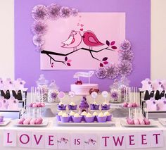 Dessert table at a Love Birds themed wedding! See more party planning ideas at CatchMyParty.com!