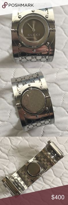 """Gucci Logo Twirl Watch Stainless Steel Twirl Watch. Face is iridescent taupe color. Logo bracelet. Sized to 6.75"""". Removed pieces will be included for you to size up by at least 1"""" if needed. Very slight scratches stainless around face and one tiny scratch on face.   Otherwise EUC. I no longer have the box Gucci Accessories Watches"""