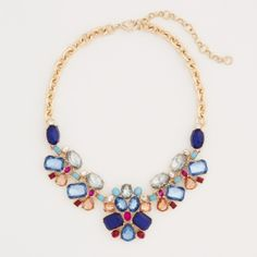 Statement necklace This is the scattered stone statement necklace. It can dress up and plain T-shirt or dress. The colors are beautiful Ann Taylor Jewelry Necklaces