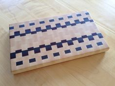"""Cutting Board made from maple, walnut and purple heart (8-1/4""""x 14""""). For Walter."""