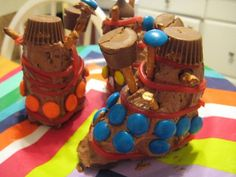 These fun Doctor Who Dalek cakes would be perfect for your birthday celebration.  Please visit my page for more Doctor Who party supplies including inviations, favors and decorations.