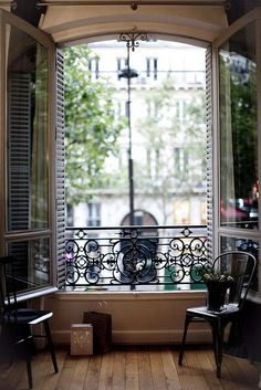 Parisian Apartment :: Tyical faux balcony = inward-opening casement windows with balcony railing Interior Architecture, Interior And Exterior, Interior Design, Exterior Doors, Interior Styling, Windows And Doors, Big Windows, French Doors, French Windows