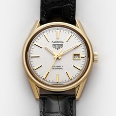 One of the great sports timepieces ever is presented as an elegant gold dress watch in a very appealing case. Elegant Gold Dress, Tag Heuer Carrera Calibre, Watches For Men, Accessories, Classic, Derby, Gents Watches, Classical Music, Men Watches