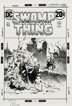 Bernie Wrightson signed original cover art for Swamp Thing Comic Book Pages, Comic Page, Comic Book Artists, Comic Books Art, Swamp Thing Dc Comics, Bernie Wrightson, Comic Book Collection, Comic Drawing, Horror Comics
