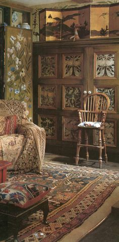 Faux painting, knotted rug, draped sofa, layers of warm color and texture