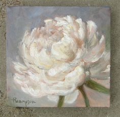 White Peony Flower small original oil painting by traciethompson