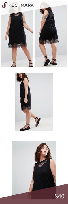 """NWT ASOS Curve Sleeveless T-Shirt Dress W/ Lace Super cute shift dress with lace inserts.   NWT - Size 14  Length from shoulder to hem is approx 38"""" Underarm to underarm is 21.75"""" ASOS Curve Dresses Strapless"""