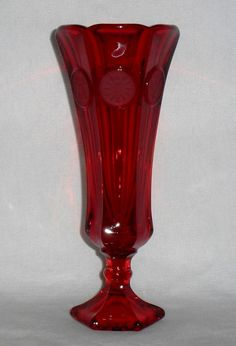 "Vintage Fostoria Glass 8"" Ruby Red Coin Vase ~ perfect for Valentine's Day <3 $24.00"