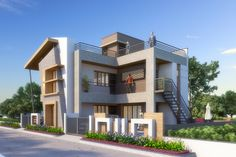 House Front Design, Modern Contemporary, Mansions, Bathroom, House Styles, Ideas, Home Decor, Drawing Techniques, Architecture