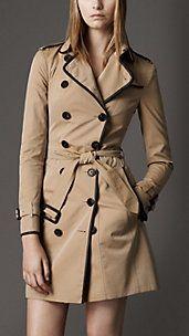 Long Cotton Gabardine Leather Trim Trench Coat