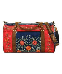Look at this Navy & Red Embroidered Suede Weekender on #zulily today!