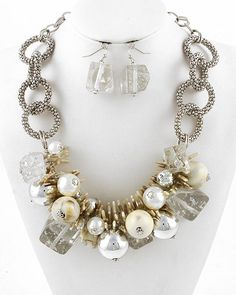 Silver Tone / Cream Synthetic Pearl & Clear Acrylic / Lead Compliant / Cluster Necklace & Fish Hook Earring Set