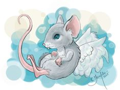 Winged Mouse by Faeriedreamer on DeviantArt Animal Drawings, Cute Drawings, Pet Rats, Pets, Mouse Illustration, Fancy Rat, Cute Fairy, Grilling Gifts, Hamster