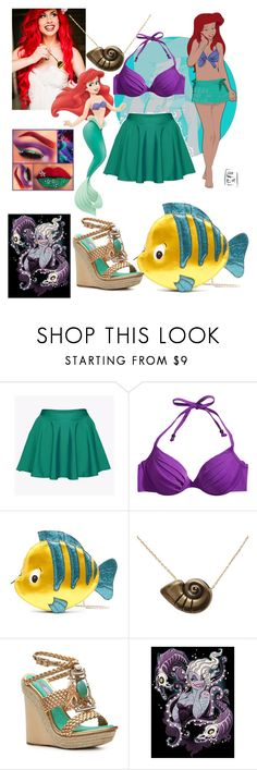 """Disney high: Ariel"" by flamingfirewolf ❤ liked on Polyvore featuring Disney, H&M, Danielle Nicole and Ivy Kirzhner"