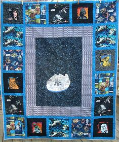 Star Wars, Return of the Quilt. Featuring an applique Millennium Falcon in the center.