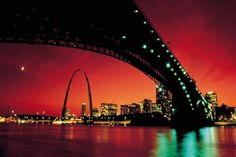 The downtown St. Louis skyline from under the Eads Bridge Saint Louis Arch, St Louis Mo, Great Places, Places To Go, Springfield Illinois, St Louis Cardinals, Cardinals Baseball, Most Viral Videos, Jefferson City