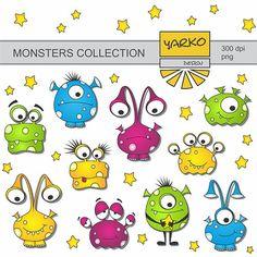 Cute Monsters Digital Clip Art Aliens Digital Clip by YarkoDesign