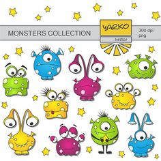 Cute Monsters Digital Clip Art Aliens Digital Clip by YarkoDesign, $3.49
