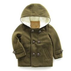 """UWESPRING Kids Boys Dress Coat Wool Hooded Trench Winter Fleece Outerwear Jacket 7-8T Army Green. Features: fashion horn button, hooded design,high quality soft wool fabric. Occasion:party,birthday,home,school,outdoor,christmas,festival. Double-breasted coat with notch collar, flap patch hand pockets. Best gift for your lovely baby. Please Select Appropriate Size According To The """"Size Specification"""" In """"Product Description"""", Thank You!."""