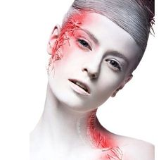 Photo about Art fashion girl with white skin and red paint on the face. Image of close, beauty, dark - 55173985 Fashion Art, Girl Fashion, Little Red Corvette, Best Stocks, Fantasy Makeup, Red Paint, Photo Illustration, Black Backgrounds, Creative Art